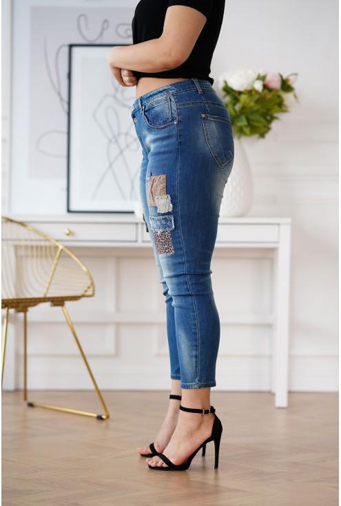 spodnie plus size z łatkami