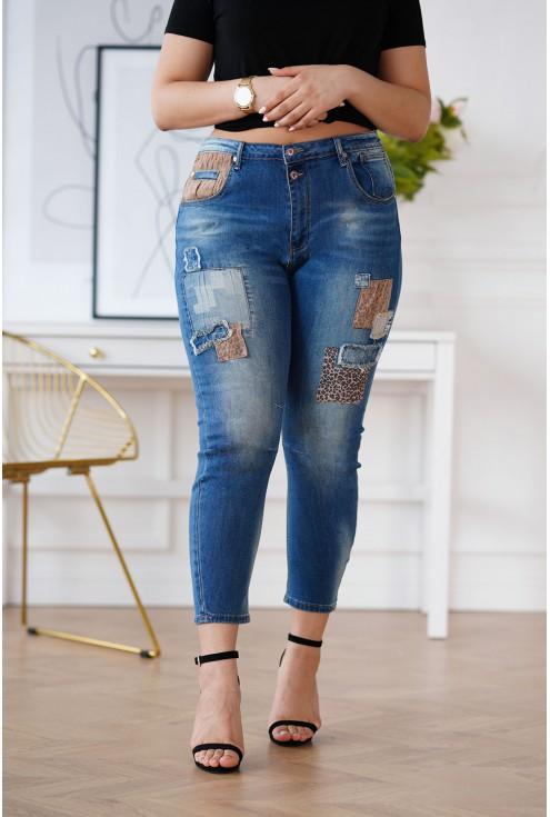 Spodnie z łatkami z panterką
