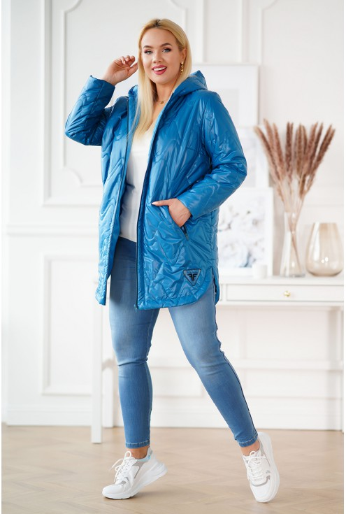 Niebieska pikowana kurtka plus size