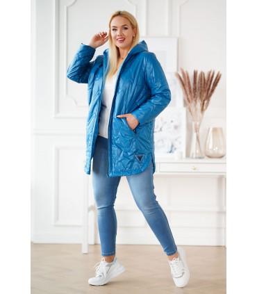 Niebieska pikowana kurtka z kapturem - RINATA
