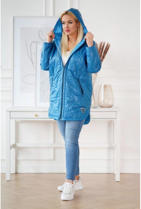 niebieska kurtka z kapturem