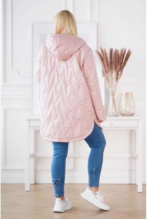 Pudrowa pikowana kurtka RINATA