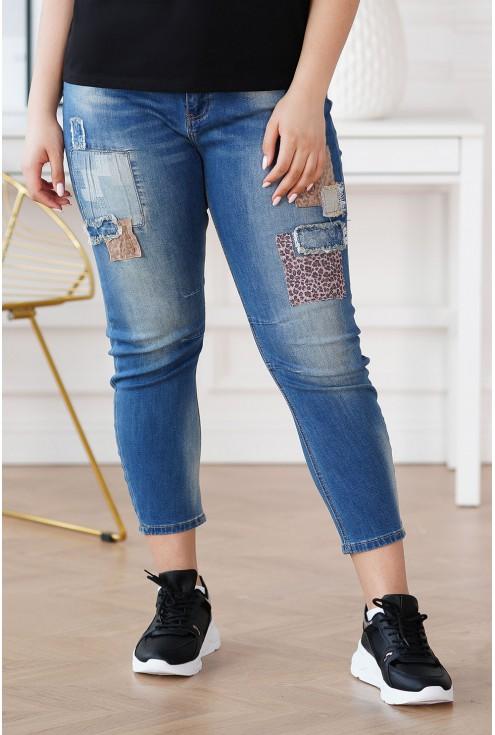spodnie z łatkami w panterkę plus size
