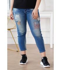 Ciemne jeansy z łatkami z panterką - BRISA