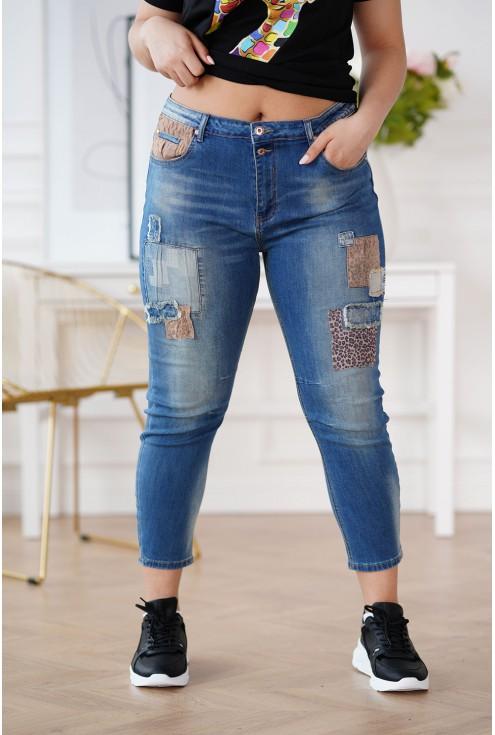 jeansy plus size z panterką