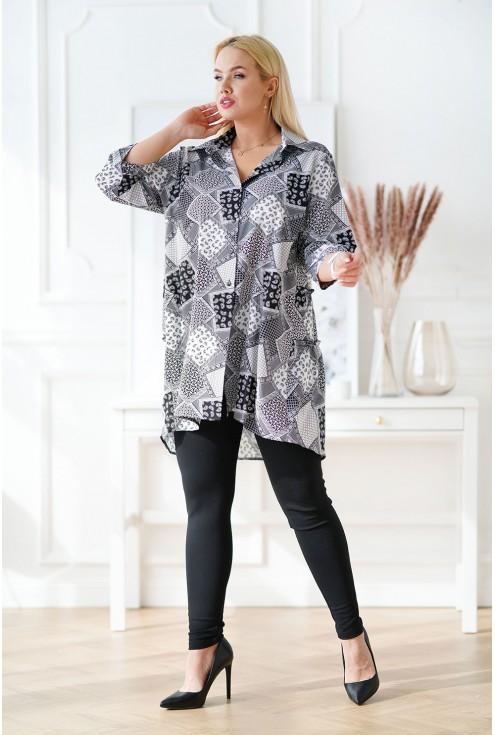 koszula tunika plus size z biało-szarym wzorem