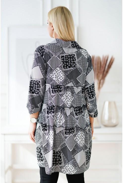 Czarna koszula tunika plus size z biało-szarym wzorem - ROSALIE