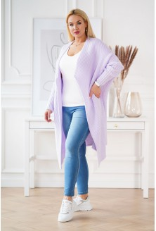 ciepły liliowy kardigan plus size