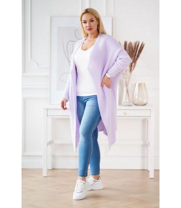 Długi ciepły liliowy kardigan plus size - MELANY