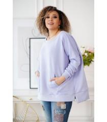 Liliowa bluza oversize ze ściągaczami - CAMISA