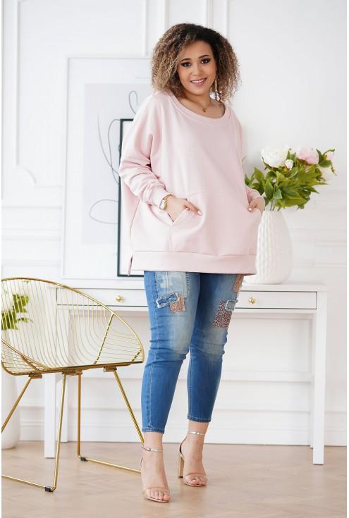 pudrowa bluza w dużych rozmiarach
