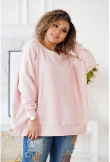 pudrowa bluza oversize