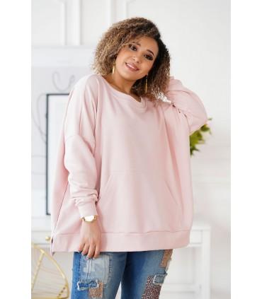 Pudrowa bluza oversize ze ściągaczami - CAMISA