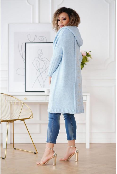 bok jasnoniebieski sweter plus size