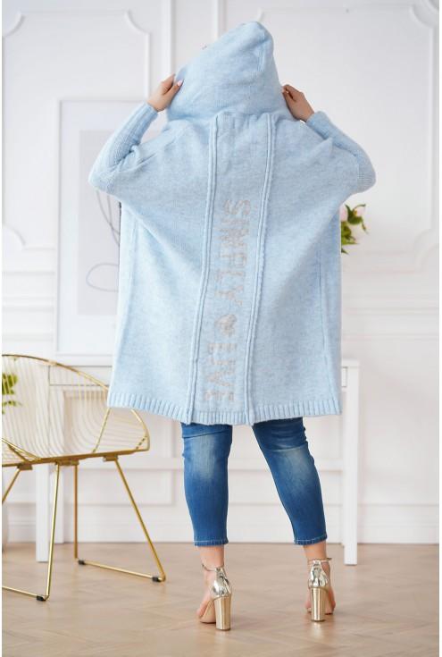 tył jasnoniebieski sweter plus size