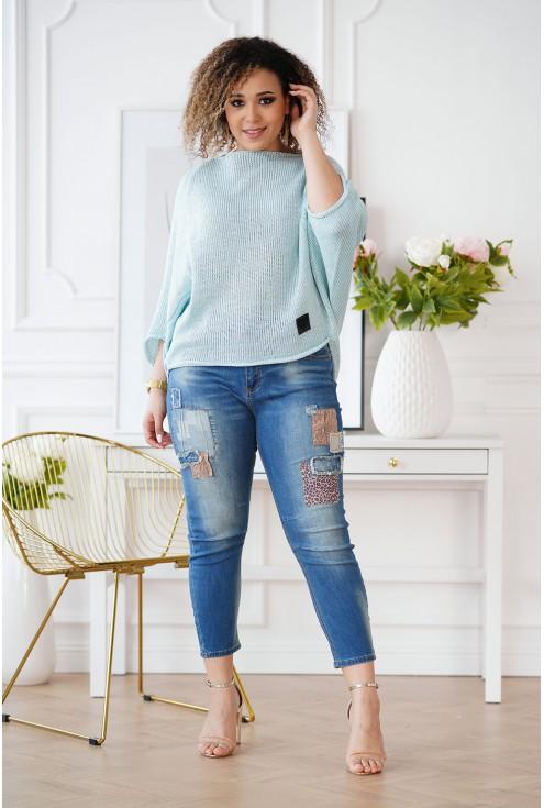 Miętowy sweterek w dużych rozmiarach