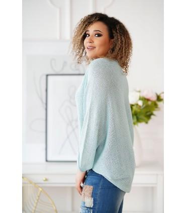 Miętowy sweterek z obniżoną linią ramion - Camila