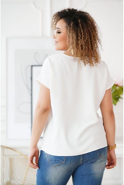 Kremowa bluzka z dekoltem V i paseczkiem