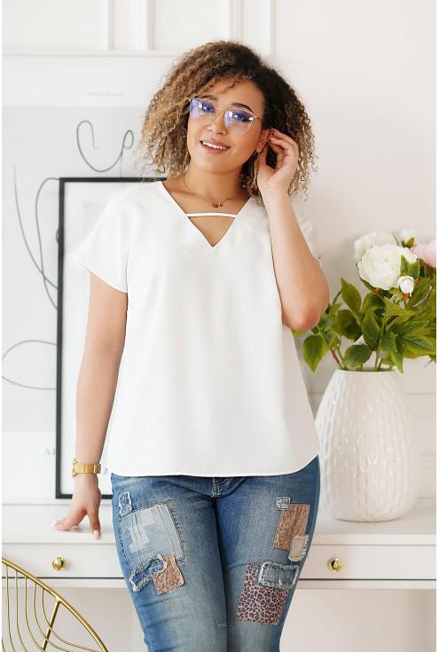 Kremowa bluzka plus size z dekoltem V