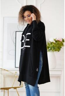 Długa czarna bluza plus size Alona