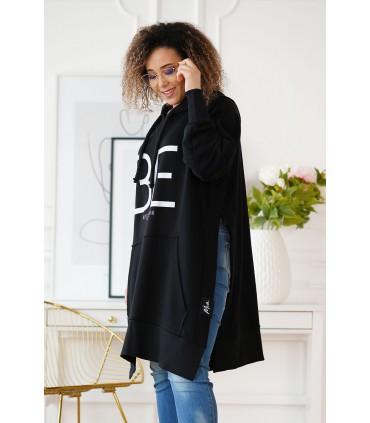 Długa czarna bluza z rozcięciem po bokach - ALONA