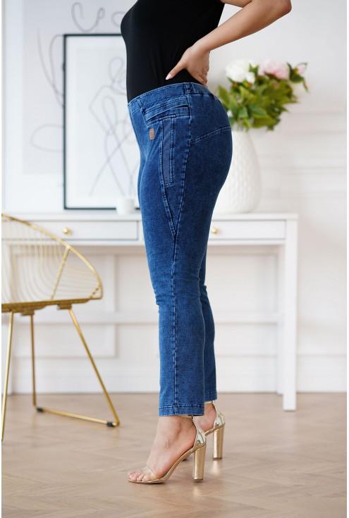 Elastyczne spodnie z imitacji jeansu