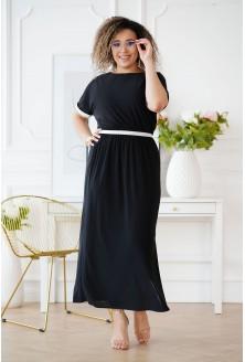 Czarna sukienka ze srebrnymi taśmami