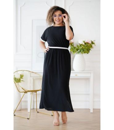 Czarna długa sukienka ze srebrnymi taśmami - CLEMENTINE