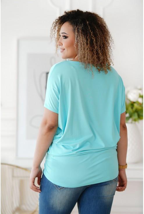 Bluzka z wiskozy krótki rękaw BASIC - jasnoniebieska