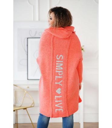 Koralowy kardigan plus size z napisem na plecach - FENSI