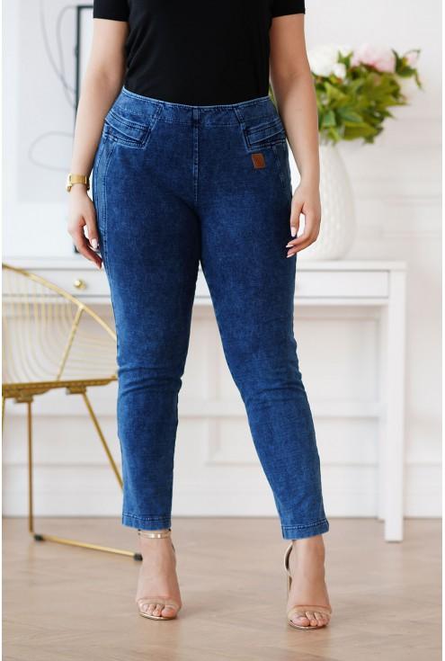 elastyczne spodnie plus size jeansowe
