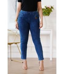 Elastyczne spodnie plus size z imitacji jeansu - MARSALA
