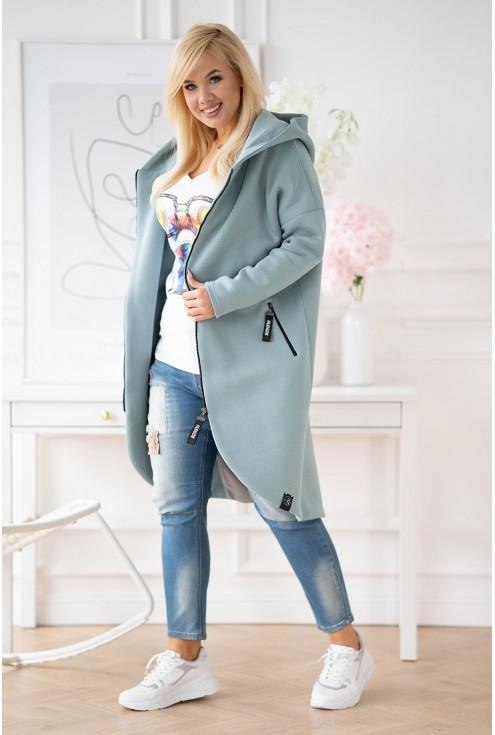 seledynowy płaszcz plus size xxl