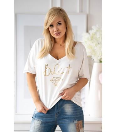 Biała bluzka ze złotym nadrukiem - BRILLANT