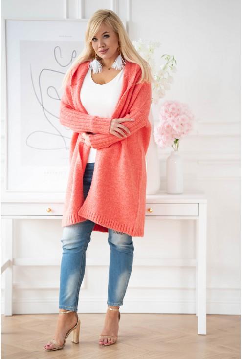 koralowy sweter plus size xxl