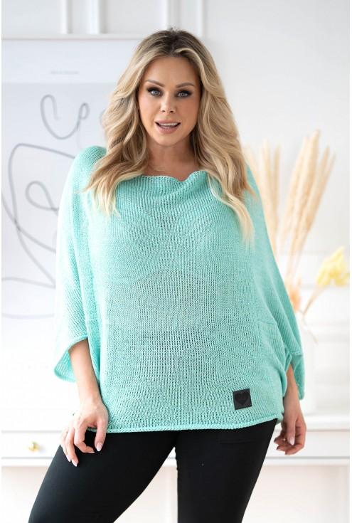 Turkusowy sweterek z obniżoną linią ramion - Camila