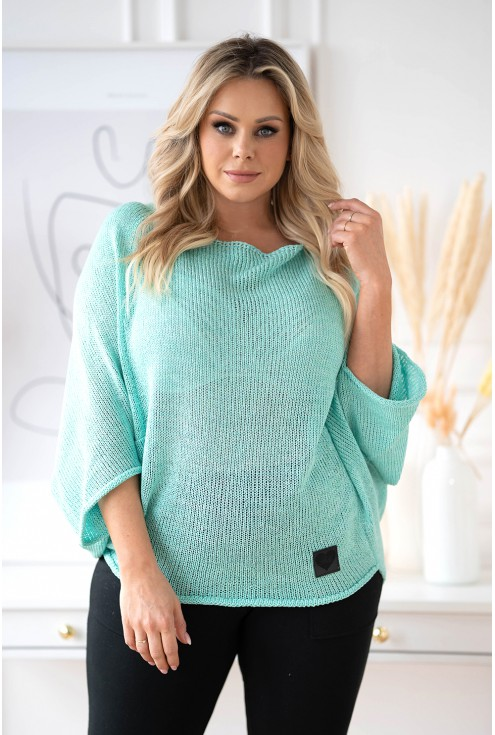 turkusowy sweter plus size