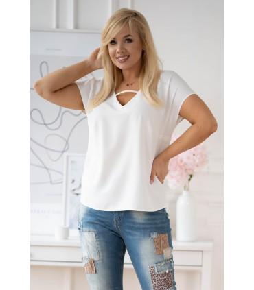 Kremowa bluzka plus size z dekoltem V i paseczkiem - FELIPA