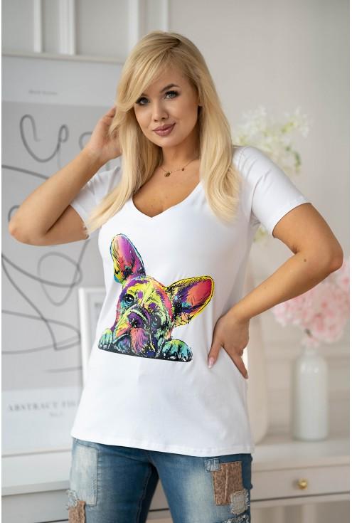 biała bluzka z nadrukiem psa