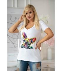 Biały t-shirt z krótkim rękawem - wzór pies - SASHA