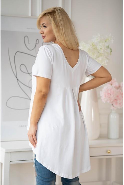 tył białej tuniki z dłuższym tyłem