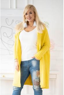Żółty kardigan plus size