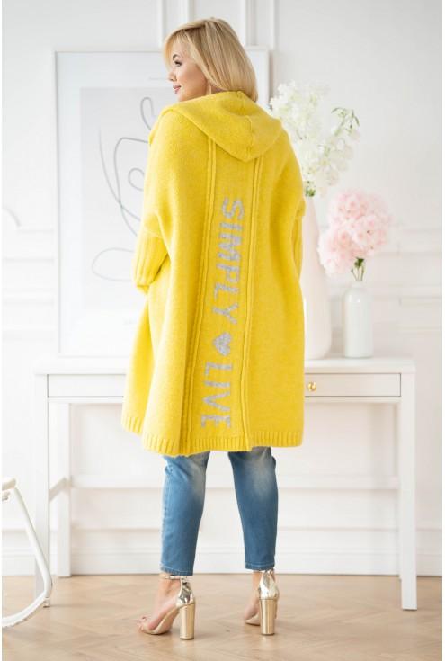 żółty kardigan z szarym napisem