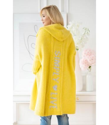 Żółty kardigan plus size z napisem na plecach - FENSI