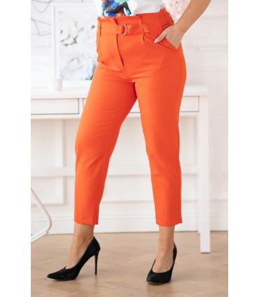Pomarańczowe eleganckie spodnie z wyższym stanem - Gianna