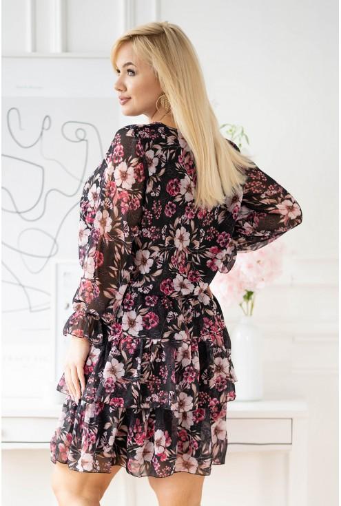 Czarna sukienka w różowe kwiaty z falbanami - LITIA