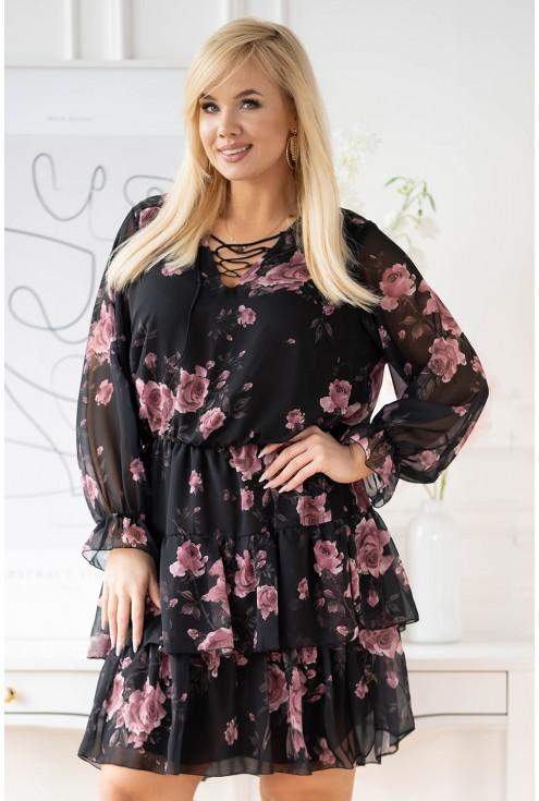czarna sukienka z falbanami w róże xxl