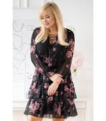 Czarna sukienka z szyfonu plus size w róże  - LITIA