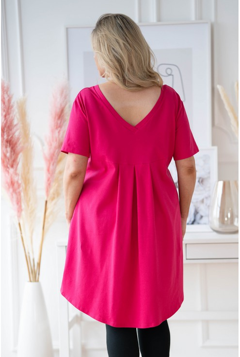 Różowa tunika z dłuższym tyłem