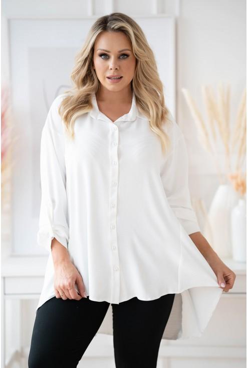 Biała długa koszula z dłuższym tyłem